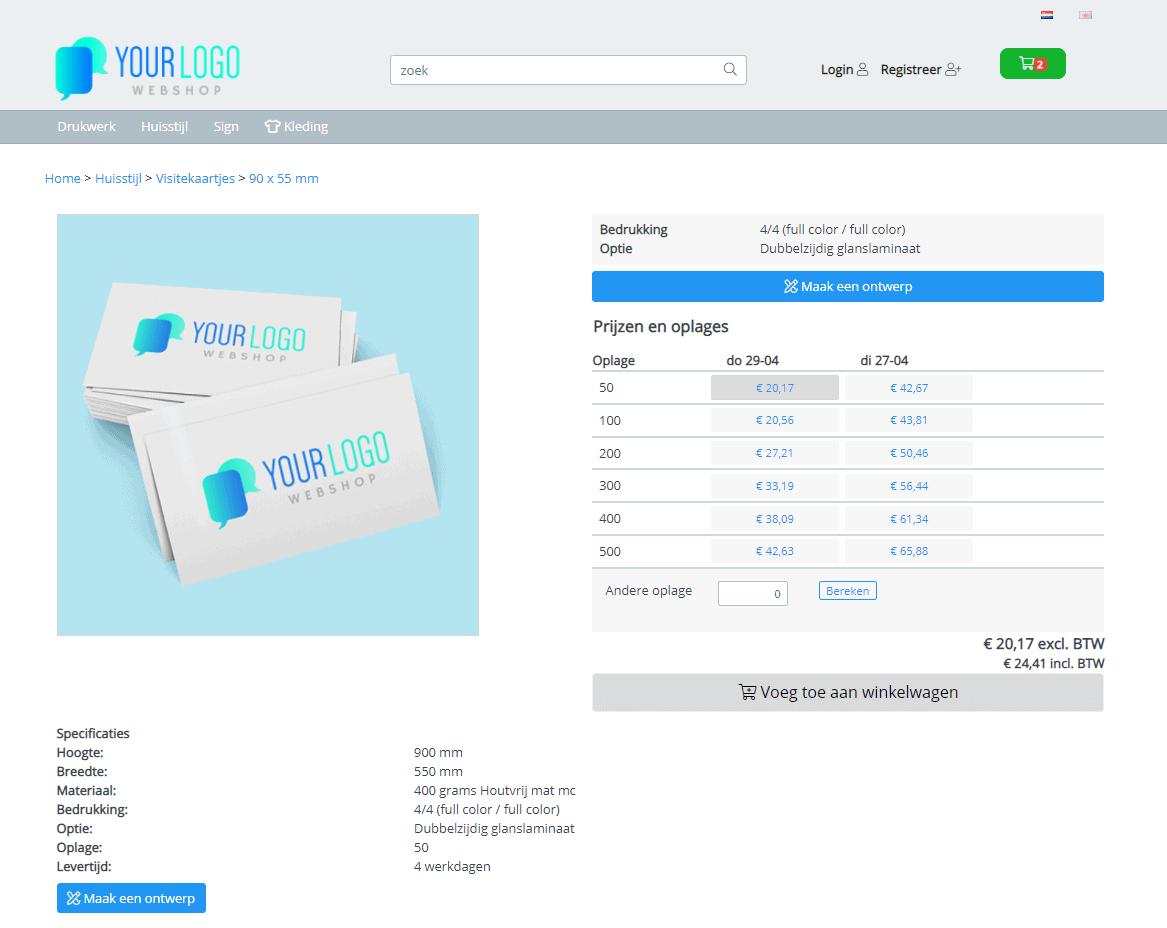 Bestelproces visitekaartjes grafische webshop
