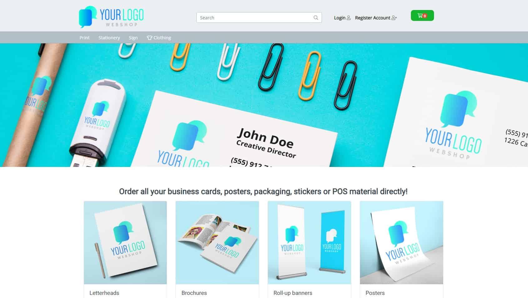 UK demo webshop printed matter WhiteLabelShop